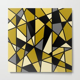 Geometric Pattern in Yellows and Black Metal Print