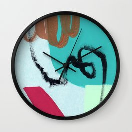 Such A Fun Place - green and blue abstract painting modern art Wall Clock