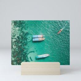 shore, boats, sandbar, ocean, moored, aerial view Mini Art Print