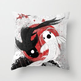 Koi fish - Yin Yang Throw Pillow
