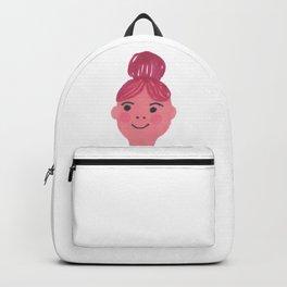 """Kiki"" cute girl with bun and rosy cheeks Backpack"