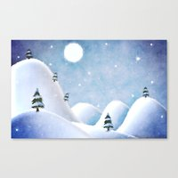 Canvas Prints featuring Winter Landscape Under Full Moon by Phil Perkins