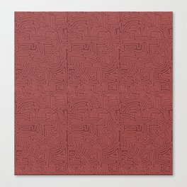 Red Line Pattern on Red Canvas Print