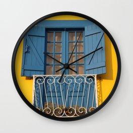 Yellow Blue House in Aveiro, Portugal Wall Clock