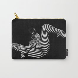 7379-KMA BW Naked Zebra Woman Spread Striped Legs Presenting Carry-All Pouch