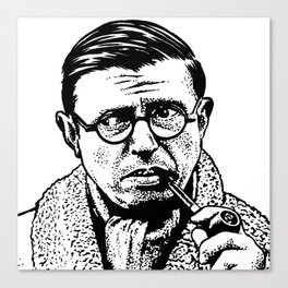Drawing of Jean Paul Sartre by Woody Compton Canvas Print