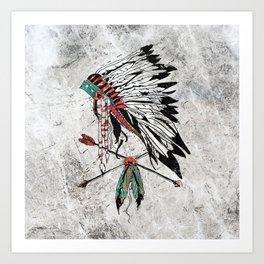 chieftain feather headdress Art Print