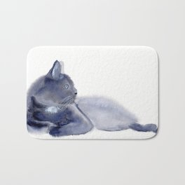 """The queen has arrived"" Expressive Cat Watercolor Painting Bath Mat"