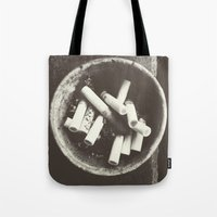 cigarettes Tote Bags featuring cigarettes by Sushibird