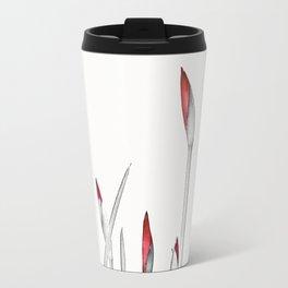 Red and White Spring Metal Travel Mug