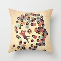 vinyl Throw Pillows featuring Vinyl by Davide Bonazzi