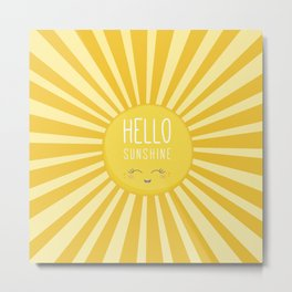 KAWAII SKY - happy smiling sun - hello sunshine quote Metal Print
