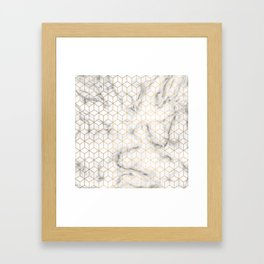 Gold Geometric Pattern on Marble Texture Framed Art Print
