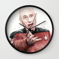 meme Wall Clocks featuring Annoyed Picard Meme  by Olechka