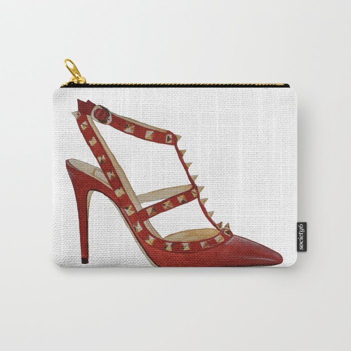 Valentino Rockstud Pumps Fashion Illustration Red Gold Carry All Pouch By Cinnamoncafexx