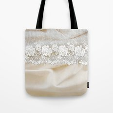 Bride lace - Luxury white floral elegant lace on cream silk fabric on #Society6 Tote Bag