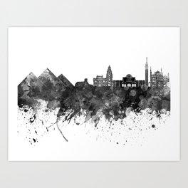 Cairo skyline in watercolor background Art Print