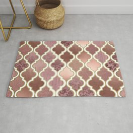 Rosegold Pink and Copper Moroccan Tile Pattern Rug