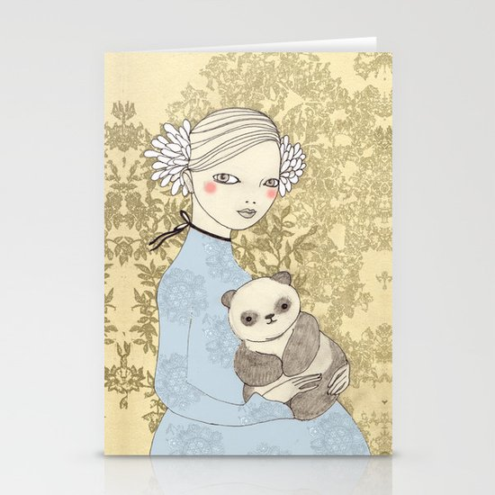 Girl with Panda Stationery Cards