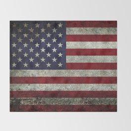 American Flag, Old Glory in dark worn grunge Throw Blanket