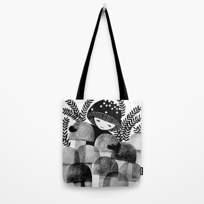 black and white mushrooms ink illustration Tote Bag