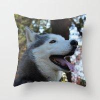 husky Throw Pillows featuring Husky. by Saremotion