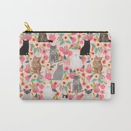 Cat floral mixed breeds of cats gifts for pet lovers cat ladies florals Carry-All Pouch