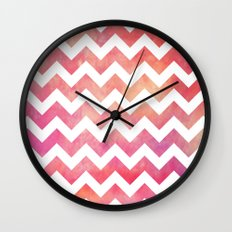 Watercolor Chevron. Wall Clock