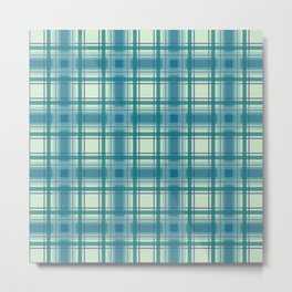 Blue and Green Plaid Metal Print