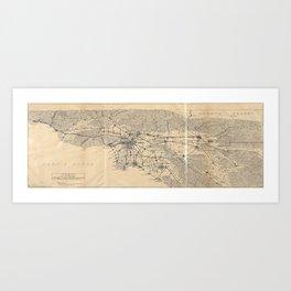 Vintage 1915 Los Angeles Area Map Art Print