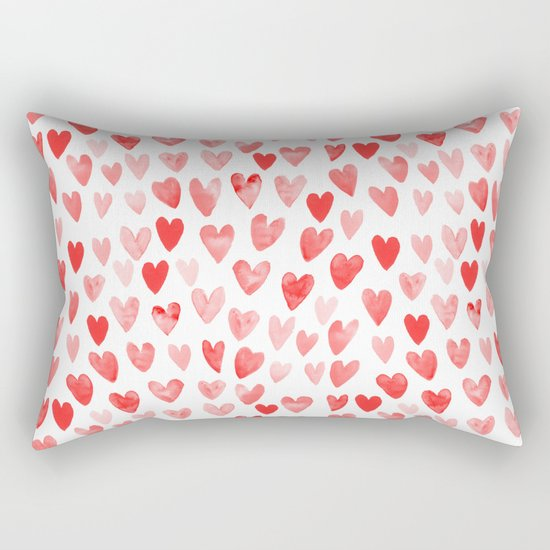 Watercolor heart pattern perfect gift to say i love you on valentines day Rectangular Pillow