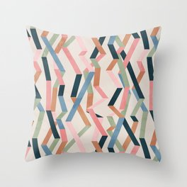 Straight Geometry Ribbons 1 Throw Pillow