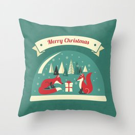 Christmas Foxes Throw Pillow