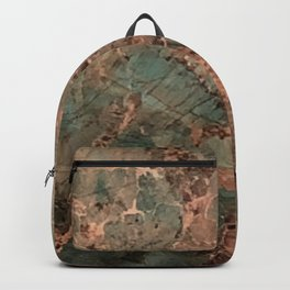 Marble Emerald Copper Blue Green Backpack