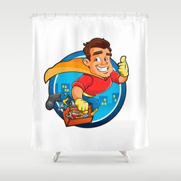 Superhero handyman Shower Curtain