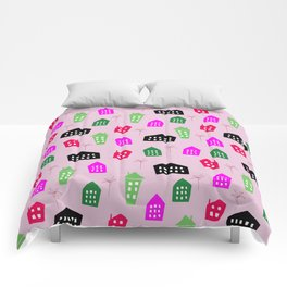 Abstract pink black green hand painted geometrical pattern Comforters