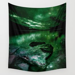 Magical Mountain Lake Deep Green Wall Tapestry