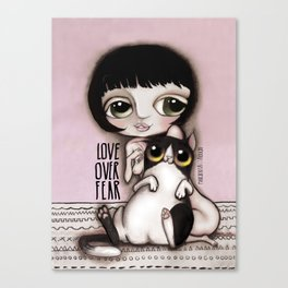 Love over Fear with Valentina Crepax with black and white cat Canvas Print