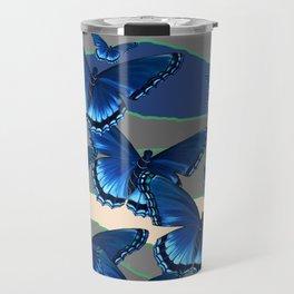 INDIGO BLUE BUTTERFLIES ON THE STORMY HORIZON Travel Mug