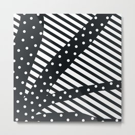 ambiguous stripes line polka dots black Metal Print