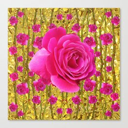 "FUCHSIA PINK ""ROSES & THORNS""  GOLD ART  ROSE  PATTERNS Canvas Print"