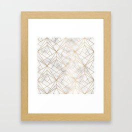 Geometric Gold Pattern on Marble Texture Framed Art Print