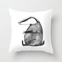badger Throw Pillows featuring Badger by Emma Jansson