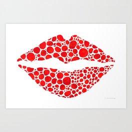 Red Lips Art - Big Kiss - Sharon Cummings Art Print