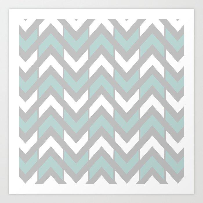 Grey Mint Green White Chevron Stripes Art Print By Republicart Society6