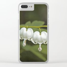 White Bleeding Hearts with Green Clear iPhone Case