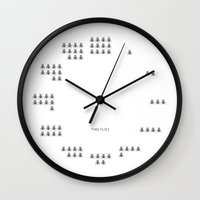 Wall Clocks featuring Time Flies by I Love Doodle