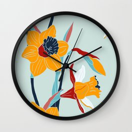 Mid Century spring floral Wall Clock