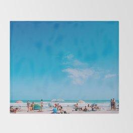 Beach large blue sky Throw Blanket