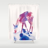 fawn Shower Curtains featuring Fawn by Andreas Lie